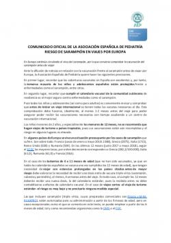 Comunicado AEP riesgo de sarampión en Europa