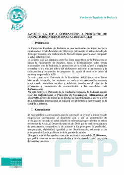 Subvención AEP-FEP para proyectos de cooperación internacional al desarrollo 2021
