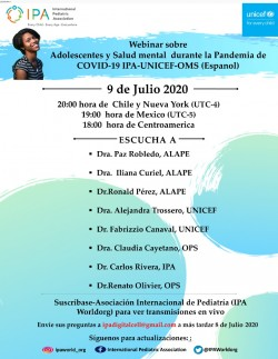"Webinar ""Adolescent and Mental Health during COVID-19 Pandemic"". 9 julio 2020"