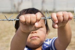 Niño agarrando una alambrada